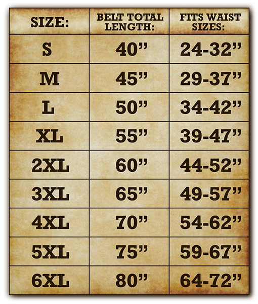 3 inch wide belt size chart