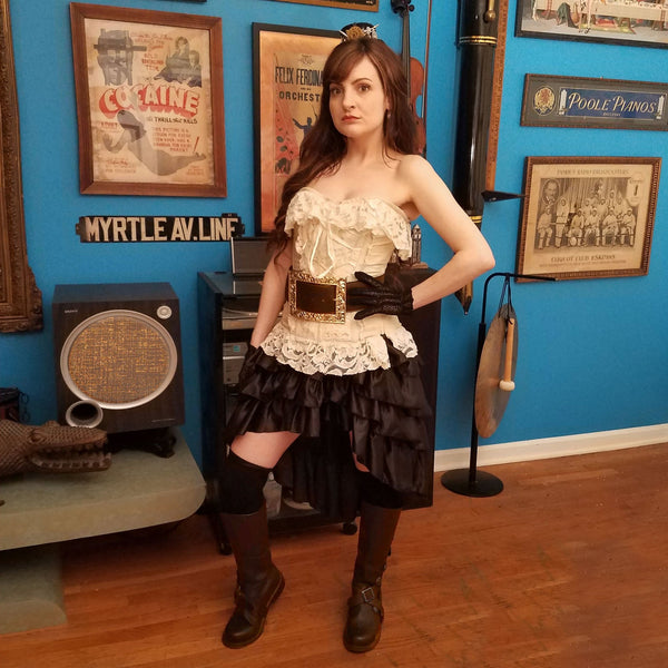 Aris Archer Brown Leather boots extra wide belt pirate girl