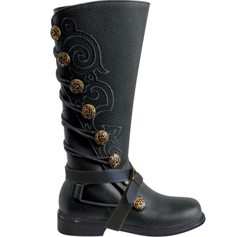 Men's Black Leather Embroidered Boots for Goth Ren Faire
