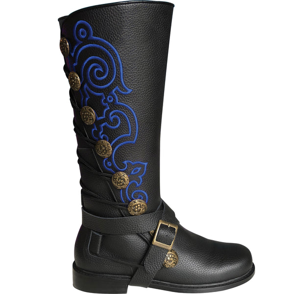 Men's Black and Blue Leather Embroidered Boots Renaissance Garb Wizards