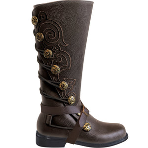 Brown Leather Boots Steampunk Pirate or Ren Garb