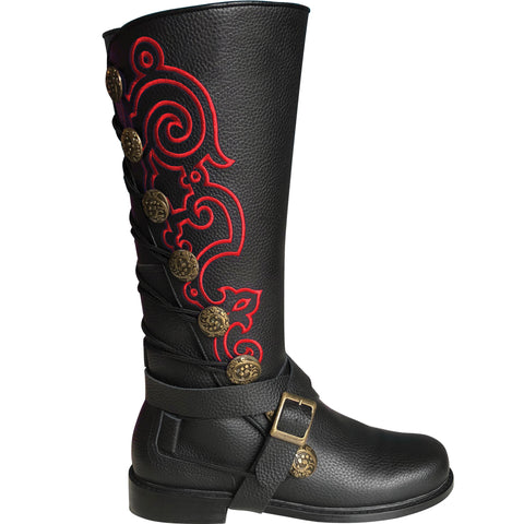 Men's Black Leather Nobleman's Boots with Red Embroidery