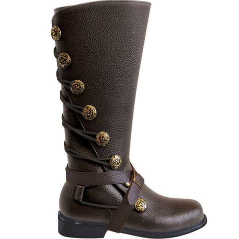 Men's Brown Leather Steampunk Boots with Buckles
