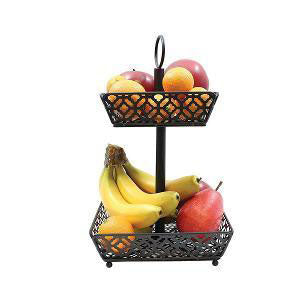 Table Craft - Two Tiered Fruit Basket Square Black (β)