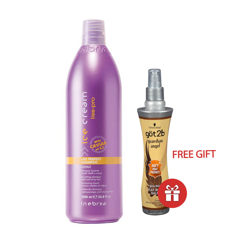 Special Pckage - Ice Cream - Liss Perfect Shampoo With Caviar 1000 Ml AND FREE Got2B - Flat Iron Guardian Angel 200 Ml
