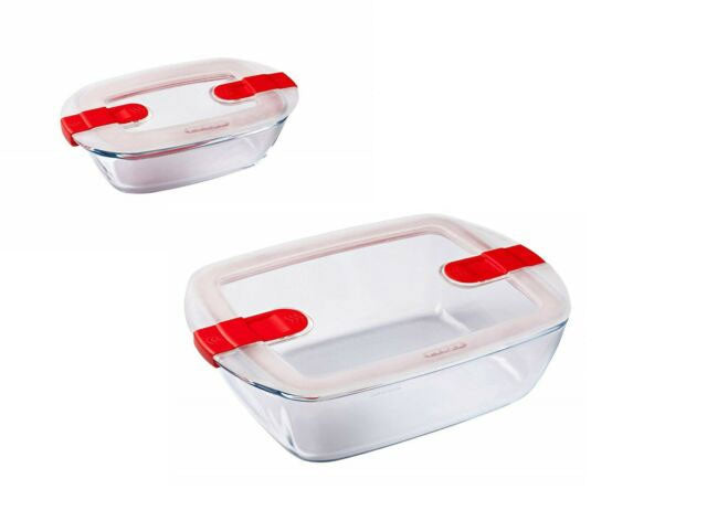 Pyrex - Cook & Heat Rectangular Clear Glass Container Set Of 2 (0.8L - 2.5L)