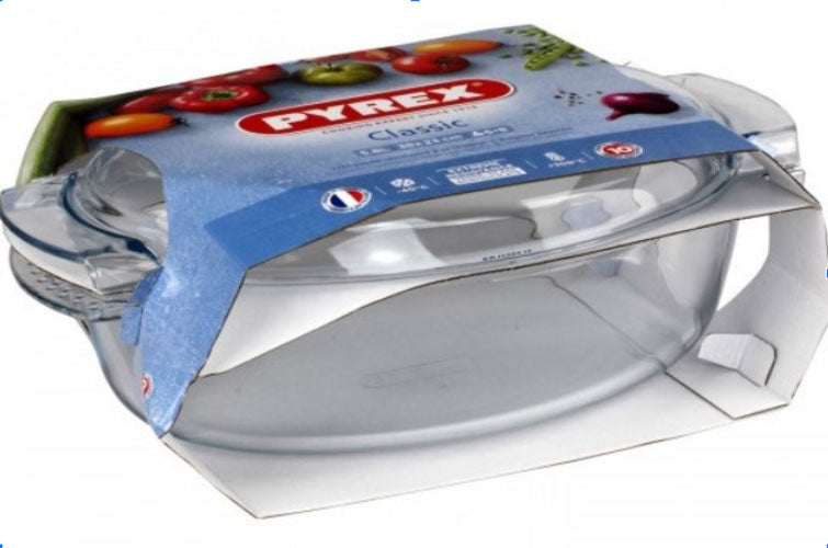 Pyrex - Rectangular Roaster With Lid 6.5 L  (4.3 + Glass Lid 2.2L)