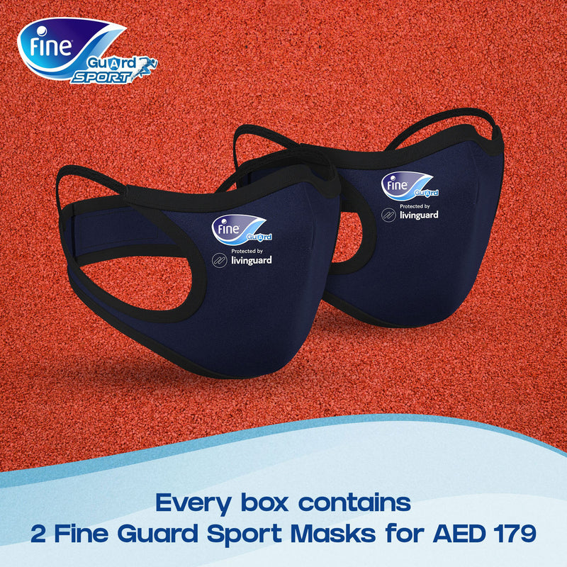 A - Face Mask Fine Guard - Sports (2 * Reusable Masks Per Pack / Navy) (β)