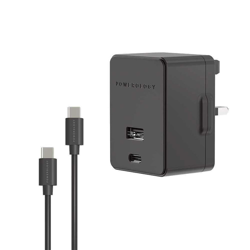 Powerology - Quick Pd Charger Usb-C To Lightning Cable Wall Charger