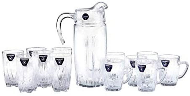Luminarc - New Jersey 13 Piece Set (Jug Without Lid 1.6L + 6 Hi Ball Glasses 27Cl + 6 Mugs 23Cl)