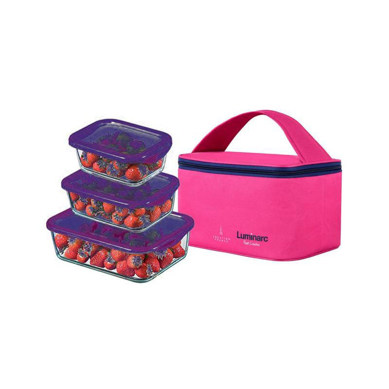 Luminarc - Set Of 3 Containers With Lids + Free Pink Lunch Bag (0.38, 0.82, 1.22 Cl)