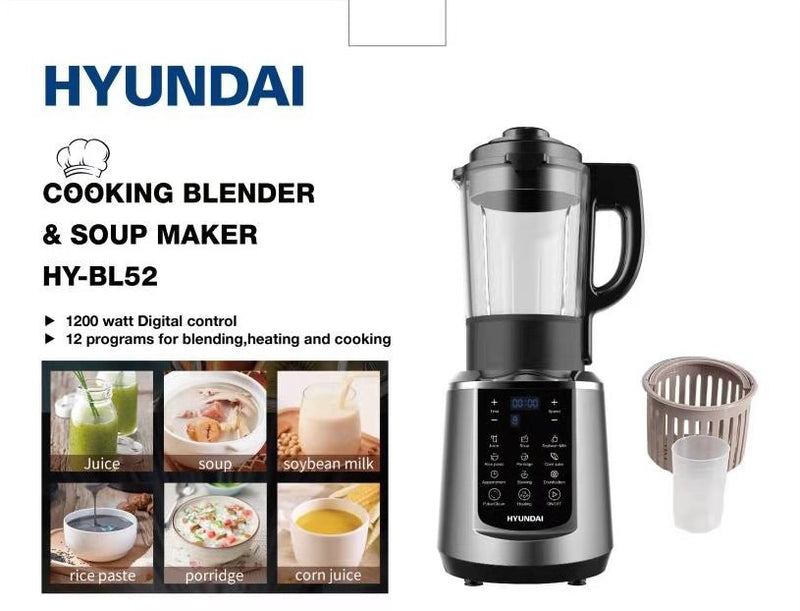 Hyundai - Cooking Blender & Soup Maker (1200W - 12 Programs) + FREE  Steam Iron I-30