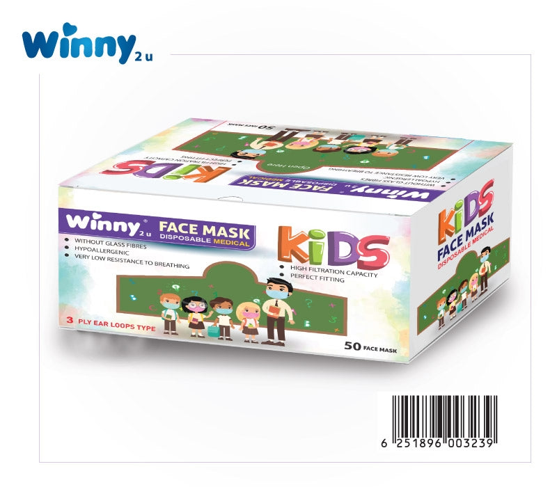 Face Mask - Winny Kids Disposable Mask 3 Ply Ear Loops Type (50 Face Mask) (β)