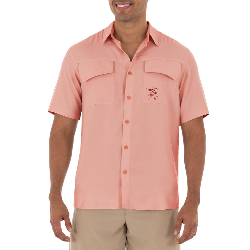 Men's Short Sleeve Texture Gingham Coral Performance Fishing Shirt