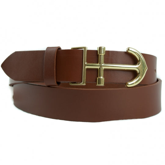 Brass Anchor Leather Belt