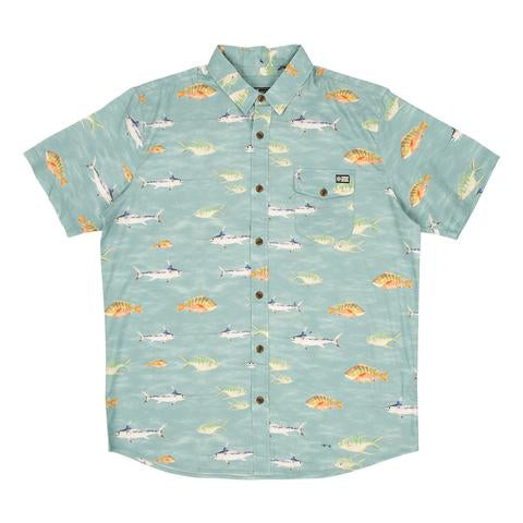 Fish Stamp Short Sleeve Woven Shirt