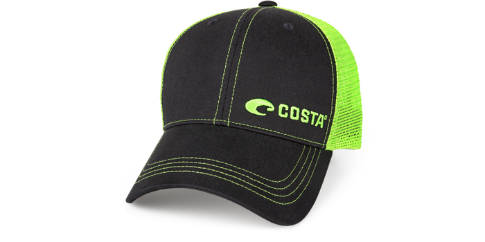 Costa Neon Trucker Black Twill Hat