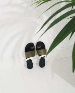 Agatha Nappa Slides - Bambu and White