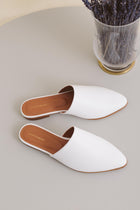 Flat Mule - White Sale (ONLY 1)