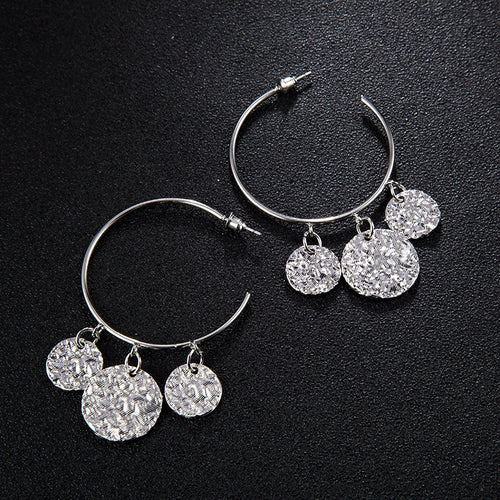 Olivier Coin Hoop Earrings Silver - Not Your Baby Boutique