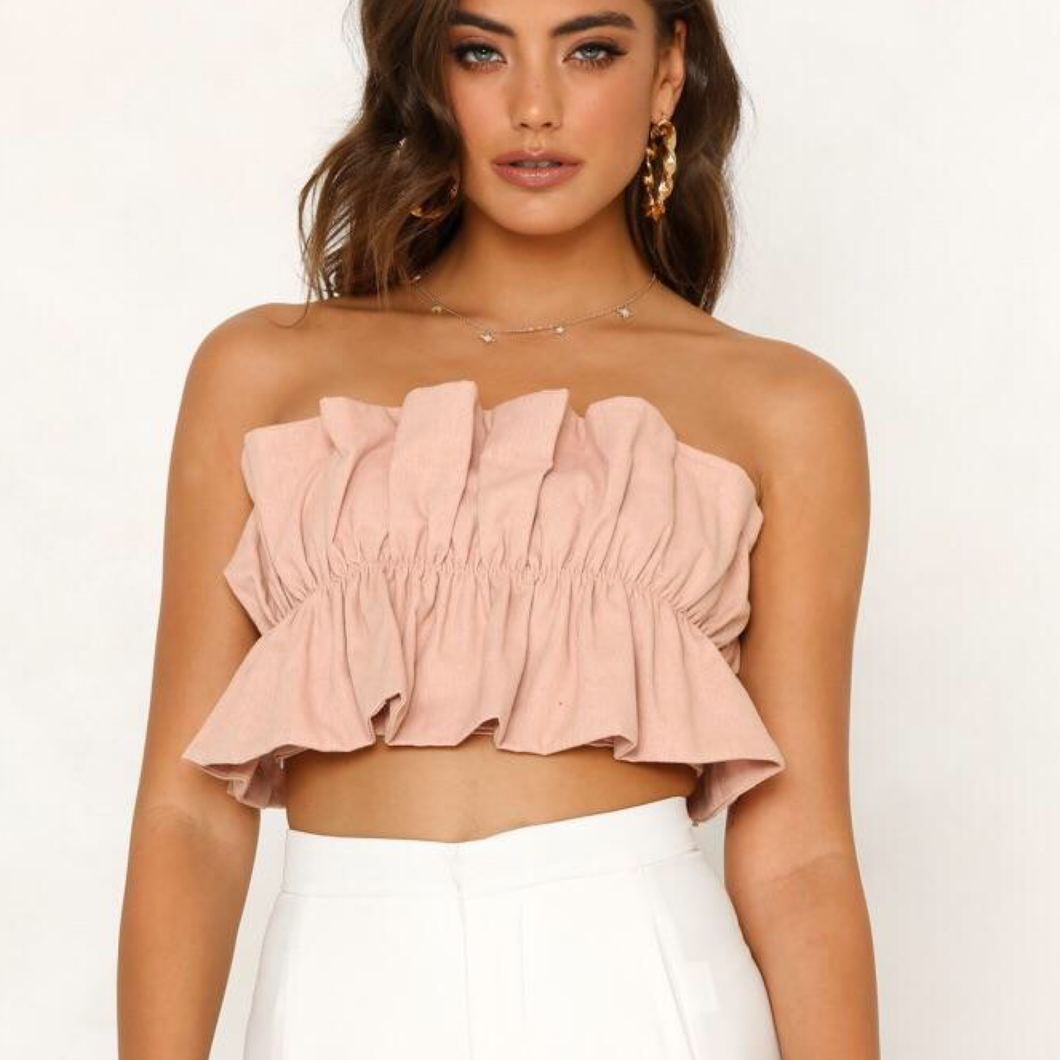 Mia Boob Tube Crop Pink - Not Your Baby Boutique