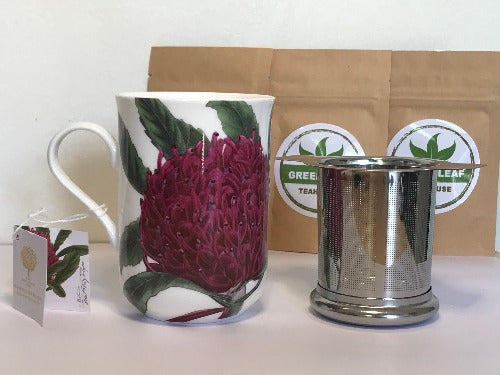 TEA MUG GIFT PACK includes 1 X Maxwell & Williams mug 1 X Stainless steel infuser with lid 3 X loose leaf tea samples