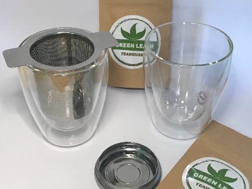 Double wall glasses gift pack includes 2 X Double wall glasses,  2 X Loose leaf tea samples and 1 X Stainless steel infuser with lid  with stainless steel infuser