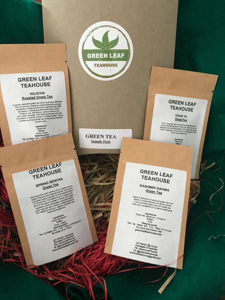 GREEN TEA SAMPLE PACK includes four different varieties of green teas from Japan, India and China that vary in taste and style.