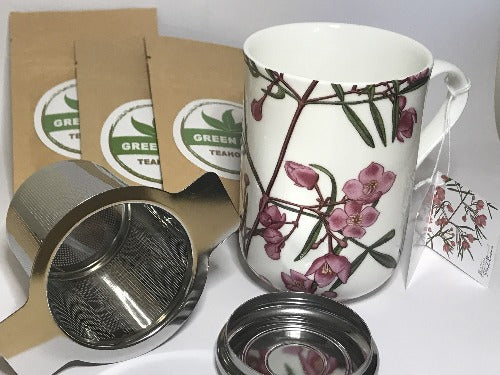 PINK TEA MUG GIFT PACK  includes 1 X Pink Maxwell & Williams mug 1 X stainless steel infuser with lid 3 X tea samples