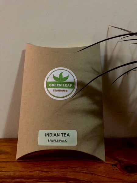 INDIAN TEA SAMPLE PACK includes four popular varieties of black and green teas. A good introduction to the different flavors of Indian tea.