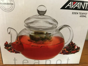 CLEAR GLASS TEAPOT WITH GLASS INFUSER