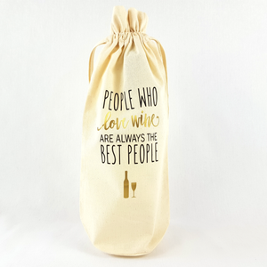 People Who Love Wine Bottle Bag (Gold)