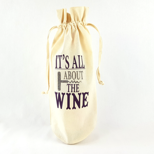 It's All About The Wine Bottle Bag (Aubergine)