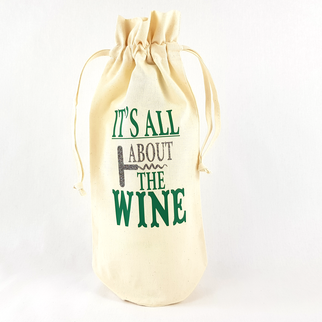 It's All About The Wine Bottle Bag (Green)
