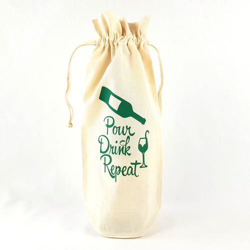 Pour Drink Repeat Bottle Bag (Green)