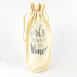 Girls Just Wanna Have Wine Bottle Bag (Silver)