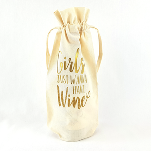 Girls Just Wanna Have Wine Bottle Bag (Gold)