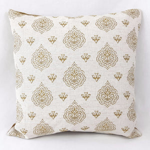 Gold Small Leaf Patterned Cushion