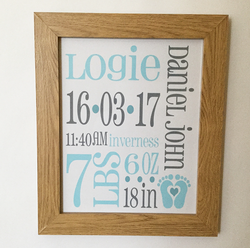 Boy's Birth Announcement Framed Print