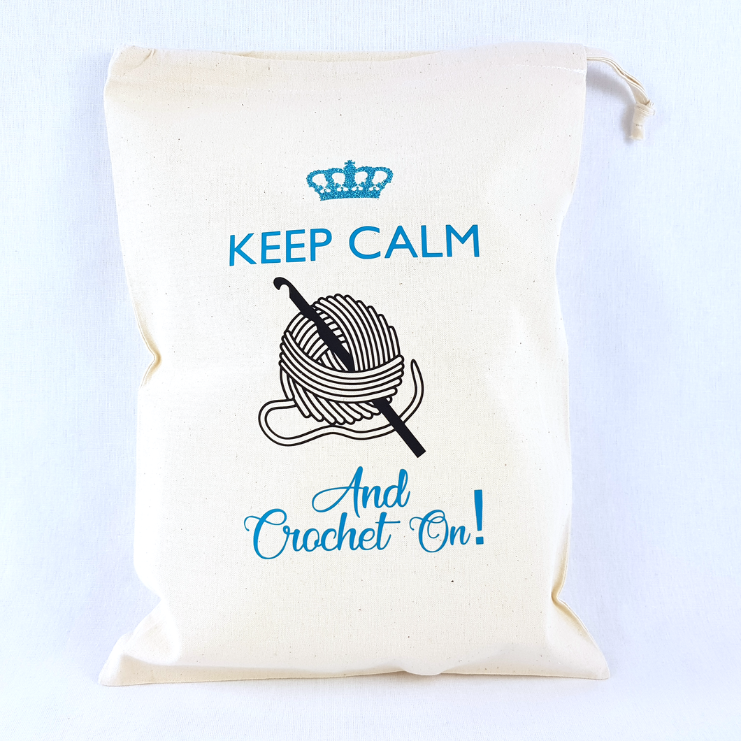 Keep Calm And Crochet On Drawstring Bag