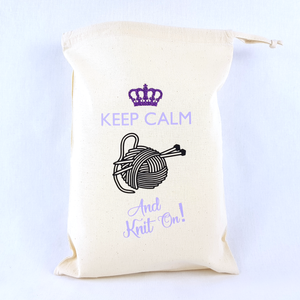 Keep Calm And Knit On Drawstring Bag