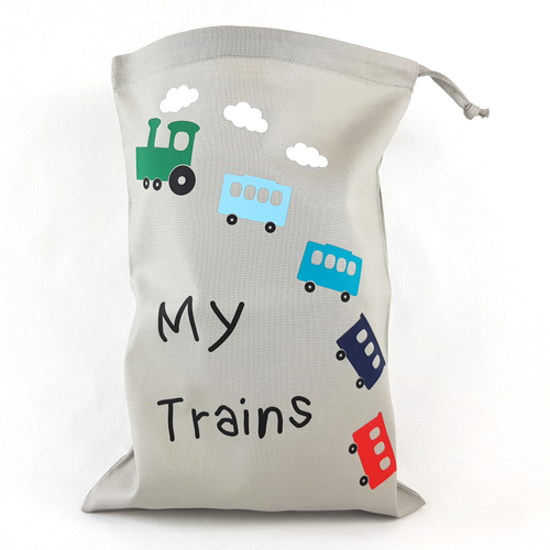 My Trains Drawstring Toy Bag