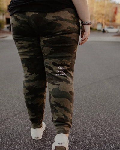 Keep Moving Forward Camo Joggers