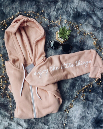 Enjoy The Little Things Zip Hoodie, 22706425069495, 22706425004090, 22706425036858, 22706425069626, 22706425102394