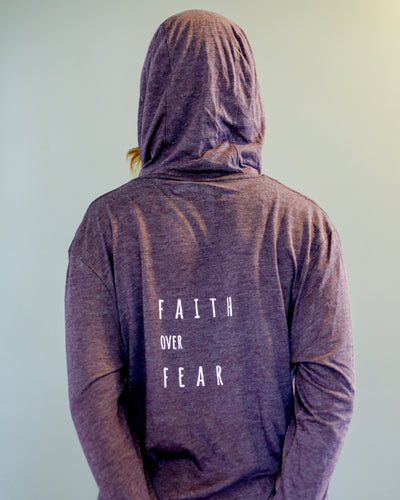 Faith Over Fear Long Sleeve Hooded Tee, XS, S, M, L, XL