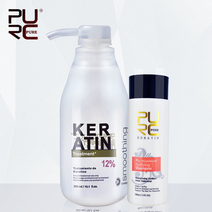 Brazilian keratin 12% formalin 300ml keratin hair treatment and one piece 100ml purifying shampoo hot sale hair treatment