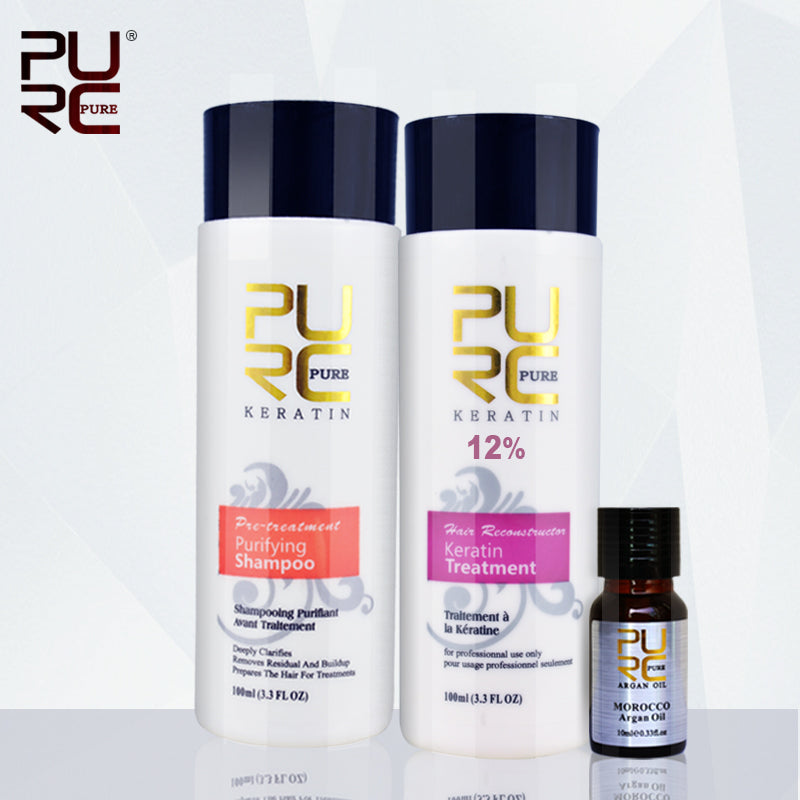 PURC 12% formalin keretin hair treatment 100ml and purifying shampoo and 10ml argan oil best hair care set repair damaged hair