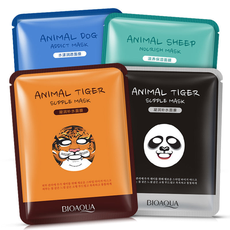BIOAQUA 1 pcs Skin Care Sheep/Panda/Dog/Tiger Facial Mask Moisturizing Cute Animal Face Masks