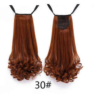 SHANGKE HAIR 22'' Long Curly Synthetic Ponytail Light Brown Drawstring Clip In Ponytail Hair Extensions Heat Resistant Hair Tail
