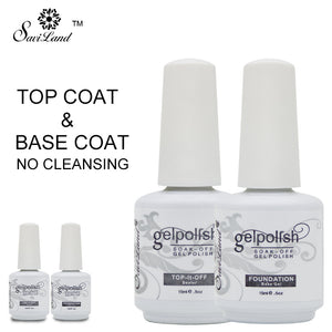 Saviland 2pcs Base Coat & Top Coat Set Gel Nail Polish Soak Off Long Lasting Gel Varnish 15ml UV LED Nail Gel Lacquer